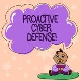 La défense proactive de Cyber des textes d'écriture de Word Concept d'affaires pour que l'anticipation s'oppose à une attaque fai illustration stock