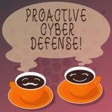 La défense proactive de Cyber des textes d'écriture de Word Concept d'affaires pour que l'anticipation s'oppose à une attaque imp illustration de vecteur