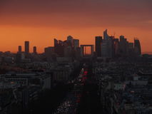 La Défense. Sunset beyond La Défense district in Paris Stock Images