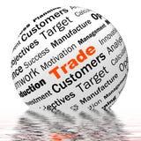 La définition commerciale de sphère montre des opérations boursières ou partager Photo libre de droits