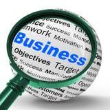 La définition de loupe d'affaires signifie des transactions corporatives et Images libres de droits