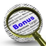 La définition de loupe de bonification montre la récompense financière ou l'avantage Photo libre de droits