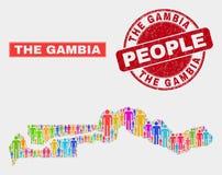 La démographie de population de carte de la Gambie et le joint corrodé de timbre illustration stock