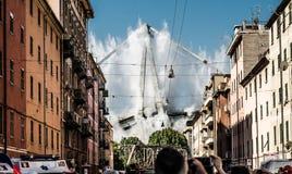 La démolition de Ponte Morandi à Gênes, Italie image stock