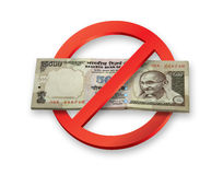 La démonétisation des roupies indiennes 500 notes de devise devient inval Photo libre de droits