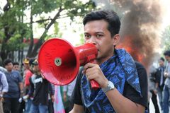 La démonstration d'étudiant de Makassar a critiqué les quatre années de photo stock