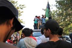 La démonstration d'étudiant de Makassar a critiqué les quatre années de image stock