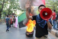 La démonstration d'étudiant de Makassar a critiqué les quatre années de image libre de droits