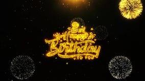 la 2da tarjeta de felicitaciones de los deseos del feliz cumpleaños, invitación, fuego artificial de la celebración colocó stock de ilustración