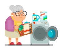 La dame de dame âgée lavent le vecteur plat de conception de vêtements de blanchisserie de machine à laver de ménage de mami illustration libre de droits