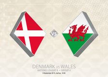 La Danimarca contro Galles, lega B, gruppo 4 Concorrenza di calcio di Europa Illustrazione di Stock