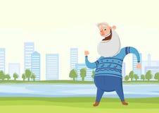 La danse d'homme ou le matin pluse âgé heureuse de faire folâtre des exercices en parc de ville Activités actives de mode de vie  illustration libre de droits
