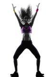 La danse de danseur de zumba de femme exerce la silhouette Images stock