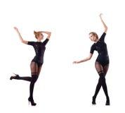 La danse de femme d'isolement sur le blanc Image stock