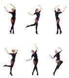 La danse de femme d'isolement sur le blanc Photos stock