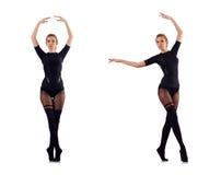 La danse de femme d'isolement sur le blanc Photos libres de droits