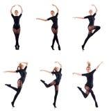 La danse de femme d'isolement sur le blanc Photographie stock