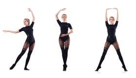 La danse de femme d'isolement sur le blanc Photo libre de droits