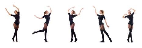 La danse de femme d'isolement sur le blanc Photo stock