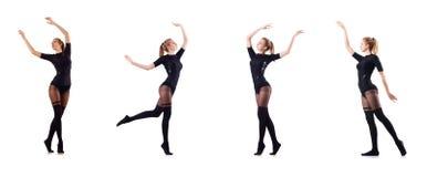 La danse de femme d'isolement sur le blanc Images stock