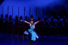 La danse de rotation du ` d'acte des samouraïs 1-The quatre a obstrué le ` de dédouanement - ` en soie de princesse de danse de ` Images libres de droits