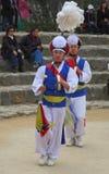 La danse des fermiers au village folklorique coréen Photo stock