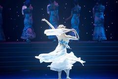 La danse folklorique four-chinoise de Fée-porcelaine de chance Photos stock