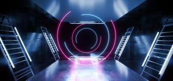 La danse virtuelle de construction d'étape entoure tubes légers futuristes fluorescents bleus de Sci fi de laser de rose ultra-vi illustration de vecteur