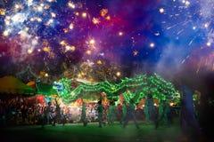 La danza del dragón se realizó para una celebración lunar del Año Nuevo Imagen de archivo libre de regalías