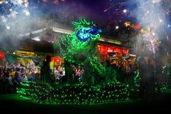 La danza del dragón se realizó para una celebración lunar del Año Nuevo Fotografía de archivo