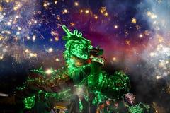 La danza del dragón se realizó para una celebración lunar del Año Nuevo Imagen de archivo
