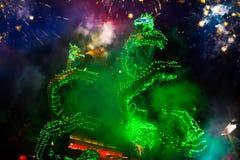 La danza del dragón se realizó para una celebración lunar del Año Nuevo Fotos de archivo
