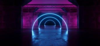 La danza fluorescente de neón de la etapa del laser Alienship del círculo de Sci que brilla intensamente Fi enciende el rosa azul stock de ilustración