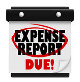La date-butoir de calendrier d'échéance de rapport de dépenses soumettent Image stock