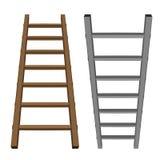 La de madera y metálica de la escalera la herramienta aislada del objeto Fotografía de archivo libre de regalías