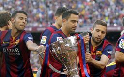 La de Xavi Hernandez FC Barcelone v Corogne Liga - Espagne Images stock