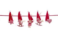 La decoración aislada de la Navidad en blanco rojo comprobó colores con Imágenes de archivo libres de regalías