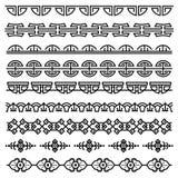 La decoración china, modelo coreano antiguo tradicional, vector las fronteras inconsútiles asiáticas fijadas libre illustration