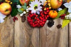 La decoración de la caída con la calabaza, las manzanas, las hojas de otoño y el serbal sea Imagen de archivo