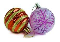 La decoración de la celebración de las bolas de la Navidad aisló imágenes de archivo libres de regalías
