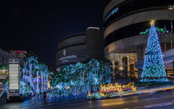 La decoración 2015 de la Navidad y de la Feliz Año Nuevo se enciende Fotos de archivo libres de regalías