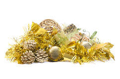 La decoración de la Navidad y del Año Nuevo en blanco aisló el fondo Fotografía de archivo