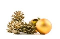 La decoración de la Navidad y del Año Nuevo en blanco aisló el fondo Foto de archivo libre de regalías