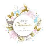 La decoración de los ciervos de la Navidad y del oro del Año Nuevo diseña Fotos de archivo