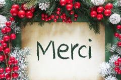 La decoración de la Navidad como la rama de árbol de abeto, medios de Merci le agradece foto de archivo libre de regalías