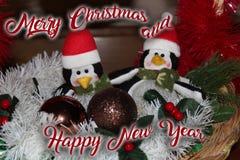 La decoración de la Navidad para las postales o las etiquetas casa cristmas Imagenes de archivo