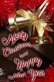 La decoración de la Navidad para las postales o las etiquetas casa cristmas Fotografía de archivo