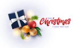 La decoración de la Navidad se opone y la caja de regalo con las luces mágicas ilustración del vector