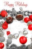 La decoración del Año Nuevo con el pino o abeto y rojo adorna ingenio de las bolas Imágenes de archivo libres de regalías