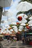 La decoración del Año Nuevo de la calle en las zonas tropicales Port Louis, Isla Mauricio Port Louis, Isla Mauricio Foto de archivo libre de regalías